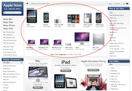 Apple.com store homepage