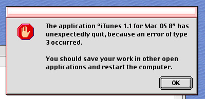 iTunes 1.1 crashing