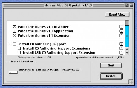iTunes patch install