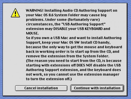 CD Authoring warning