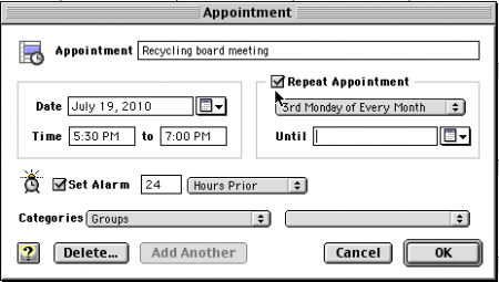 Sync repeating appointments