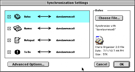Organizer / NCU sync settings