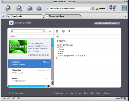 simplenote screenshot os 8.6